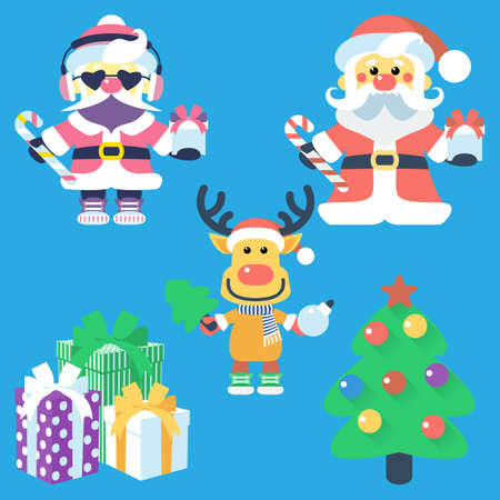Vector icon flat design with Santa Claus and Santas reindeer, Christmas tree and gifts