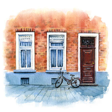 Urban watercolor sketch of brick house with door, byke and windows Bruges, Belgium.