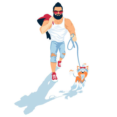 Man with small yorkshire terrier vector illustration. Bearded athlete guy walk a dog flat style design. Illustration