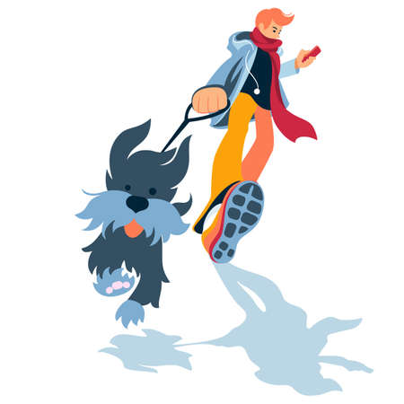 Young man walk the dog in the park. Flat style vector illustration