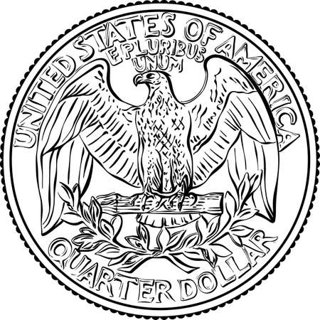 American money, United States Washington quarter dollar or 25-cent silver coin, the national bird of USA Bald eagle on reverse. Black and white image