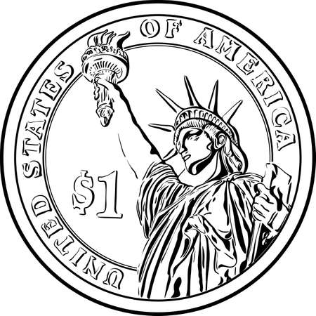 American money Presidential one dollar gold coin with Statue of Liberty on reverse.Black and white image