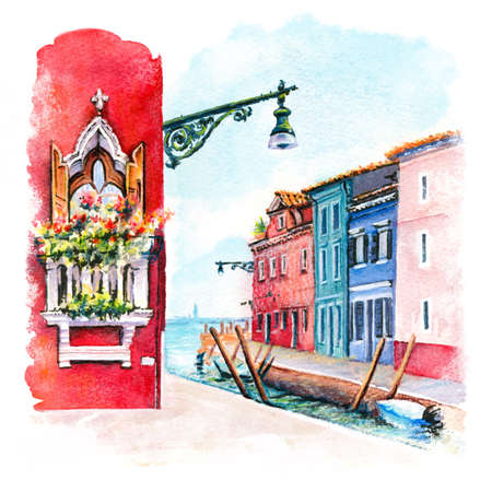 Canal and bright houses on island Burano, Venice, Italy. Digital drawing as watercolor