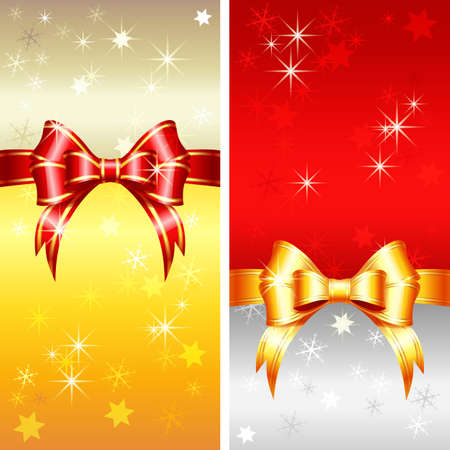 Vector red and gold greeting card with Christmas ribbons, bow and snowflakes Banque d'images