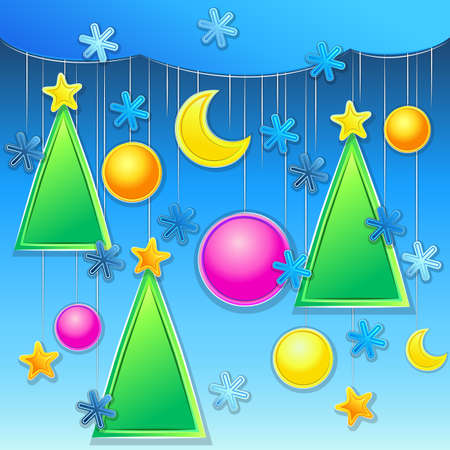 vector christmas background with christmas trees, ball and snowflakes Illustration