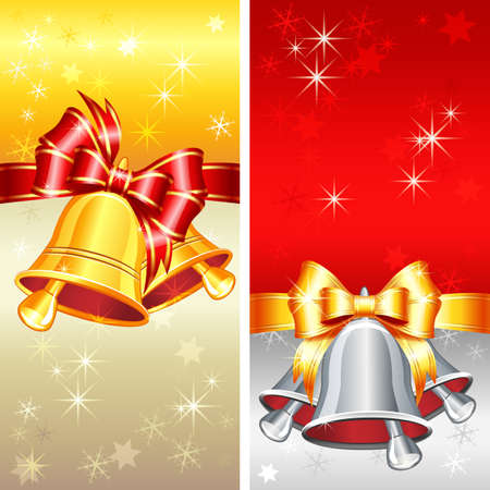 Vector red and gold greeting card with Christmas bells, bow and snowflakes