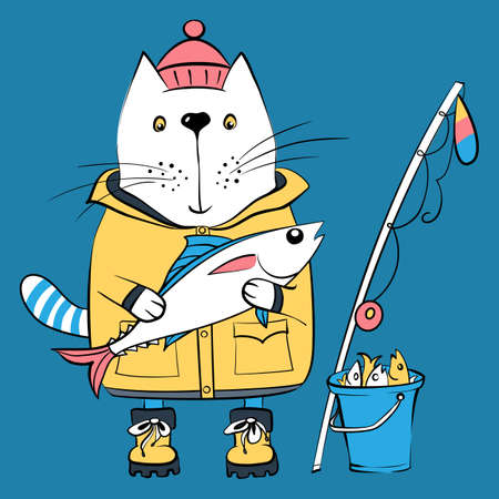 Vector cartoon cat fisherman, ardent angler, in traditional fishing clothes with a big fish, fishing rod and bucket with its catch