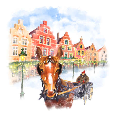 Horse carriage on Christmas Markt square in Brugge, Belgium. Digital drawing as watercolor Banque d'images