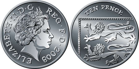 British money silver coin Ten pee or ten pence, reverse with Segment of Royal Shield, queen on obverse