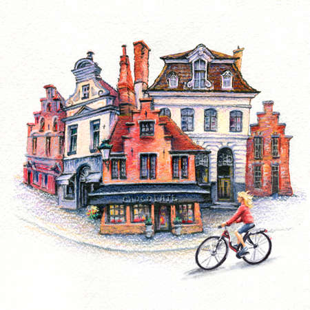 Watercolor sketch with girl cyclist on street of Old town of Bruges, Belgium.