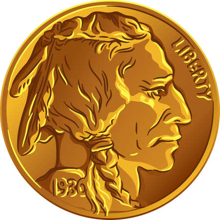 American copper-nickel money, Obverse of Buffalo nickel or Indian Head nickel 5 Cent Coin