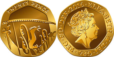British money gold coin twenty pences, reverse with Segment of Royal Shield, obverse with Queen 向量圖像