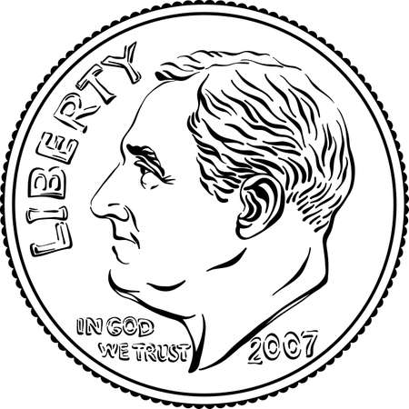 American money Roosevelt dime, United States one dime or 10-cent silver coin with President Franklin D Roosevelt on obverse. Black and white image Ilustracje wektorowe