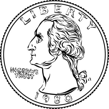 American money, United States Washington quarter dollar or 25-cent Gold coin, first United States president Washington on obverse. Black and white image