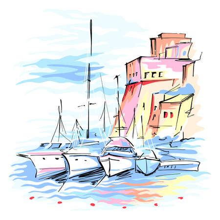 Vector sketch of pier with fishing boats and medieval fortress in Cala Marina, harbour of Castellammare del Golfo, Sicily, Italy.