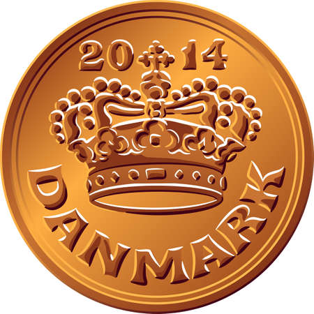 Danish money tin-bronze 50 ore coin. Krone, official currency of Denmark, Greenland, and the Faroe Islands.