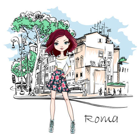 Vector cute brunette girl on a typical Roman street with Stone pine trees in the old city in Rome, Italy.