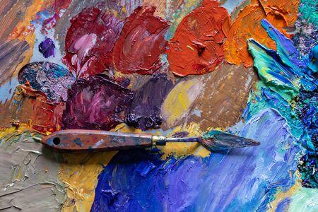 different color oil paint. colorful acrylic paint. modern art concept. painter palette knife. 版權商用圖片