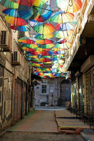 Turkey, Istanbul - May, 2020. Background colorful rainbow different color umbrellas. unban tourist street decoration. Istanbul, Karakoy. travel summer concept Editorial