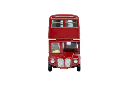 famous red traditional London bus isolated over white