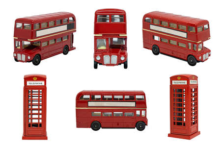 famous red traditional London bus and telephone booth isolated on white