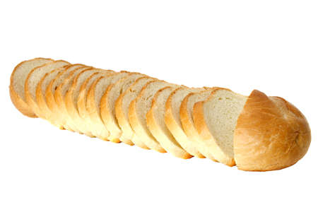 The cut wheat bread  isolated on the white background  Stock Photo