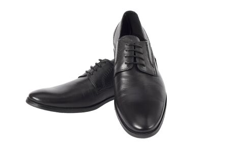 Male black laither shoes  isolated on the white background Stock Photo - 13637971