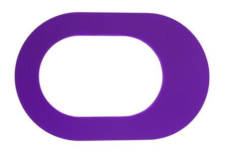 Violet oval empty frame isolated on a white background
