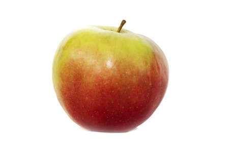 juicy red and yellow apple on  white background