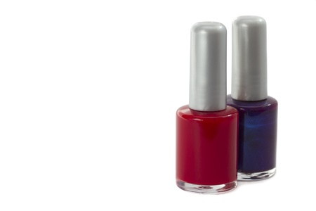Bright Red and violet   nail polishes isolated on white background  Stock Photo