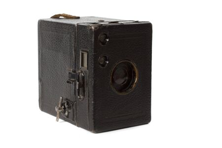 old black photocamera  isolated on white Stock Photo - 13728135