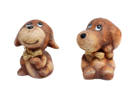 Two smiling ceramic dogs  Stock Photo