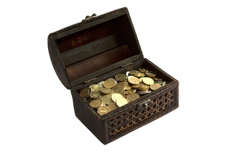 wooden chest with gold coins isolated on white background