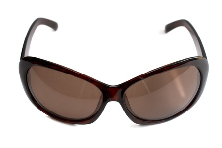 brown ultra-violet sunglasses isolated on white