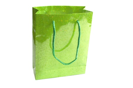 green bag for gift  isolated on white Stock Photo