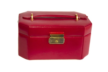 Red leather box with gold lock on white