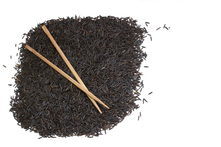 black rice and chopsticks with copy-space