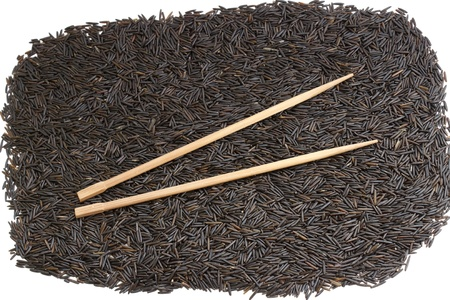 black rice and chopsticks - use as background