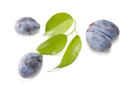 Some plums with green leaves on white