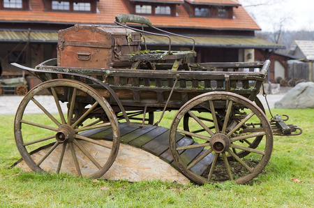 old wooden cart in the park Stock Photo