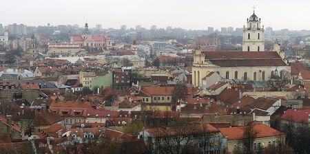 View of Vilnius from above  Vilnius Old Town, Lithuania Stock Photo