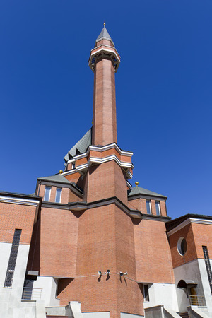 Memorial mosque on Poklonnaya Gora - April, 27, 2014. Constructed in 1997 in honor of Muslim people of Russia, lost during World War II. Stock Photo