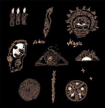 Magic paraphernalia. Golden signs and symbols on a black background