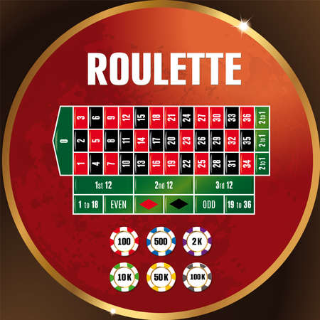 roulette in the casino, chips on the table
