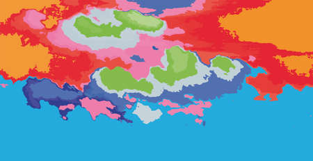 abstract background, blue sky and colorful clouds, vector illustration.