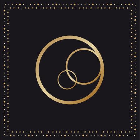 Vintage Luxury ornate gold Frame on a black background . Vector illustration
