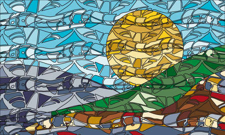 creative mosaic stained glass background with sun, sea and mountains. vector