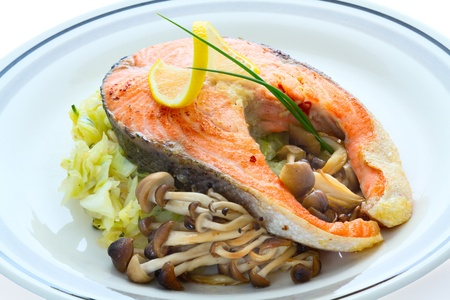 Grilled salmon with vegetables.