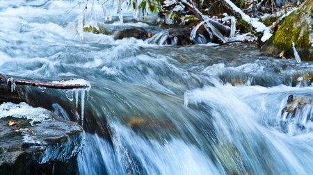 Rapid stream in mountain river. Stock Photo