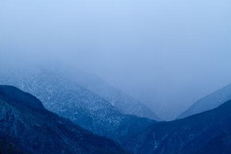 Scenic view of the winter mountains. Stock Photo